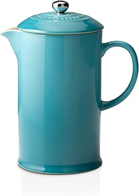 Le Creuset Stoneware Cafetiere with Metal Press, 750 ml-Teal, Ceramic, 17 x 11 x 22 cm
