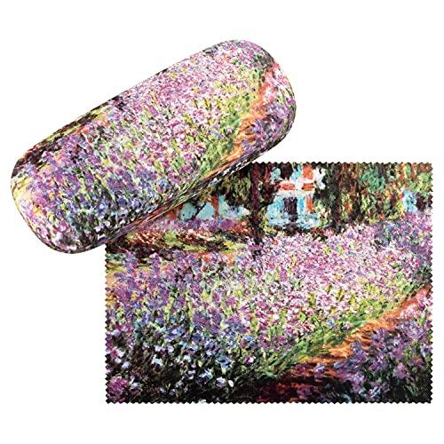 VON LILIENFELD VON LILIENFELD Brillenetui Blumen Claude Monet: Garten Kunst Brillenputztuch Brillenbox Stabiles Hardcase Set mit Putztuch