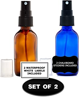 Amber and Cobalt Blue Glass Bottles 2 Oz. for Essential Oil with Black Fine Mist Sprayer Set of 2 for Aromatherapy & Cosmetic Sprays