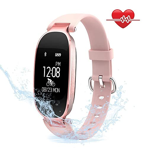 Mujeres Pulsera Deportiva Inteligente de Actividades Fitness Tracker Impermeable IP67 Monitor de Pulso Cardiaco Bluetooth con