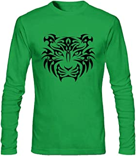 Peninsliron Men's Tiger Carving Image Long Sleeve T-Shirt