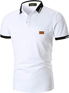 GNRSPTY Mode Polo Homme Manches Courtes Casual Couleur de Contraste T-Shirt Golf Tennis Polos S-XXL