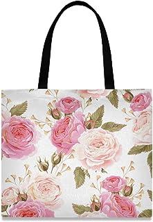 DOSHINE Handtasche aus Segeltuch, Blumenmuster, Rosa, wiederverwendbar, Einkaufstasche, Schulranzen für Damen, Mädchen