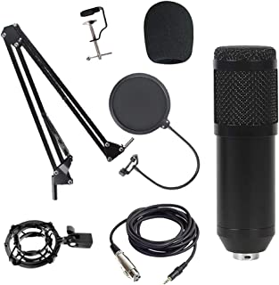 yotijar Condenser Microphone Kit Streaming Cardioid Mic Set for Studio Recording - Black B, 165mm
