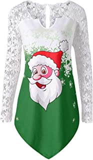 Fashion Women Casual Merry Christmas Print Blousel Lace Patchwork T-Shirt Tops