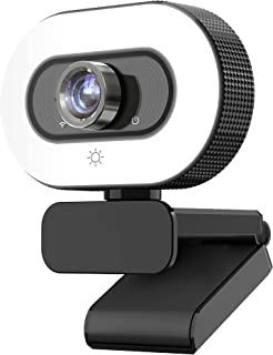 DragonTouch WB20 Streaming Webcam 2K/3MP/30fps, video camera with Adjustable Fill Light, webcam with microphone for Live S...
