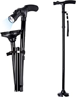Folding Cane with Led Light, Adjustable Canes and Walking Sticks for Men and Women, Walking Cane Stick for Elderly with Cushion T Handle and Pivoting Quad Base