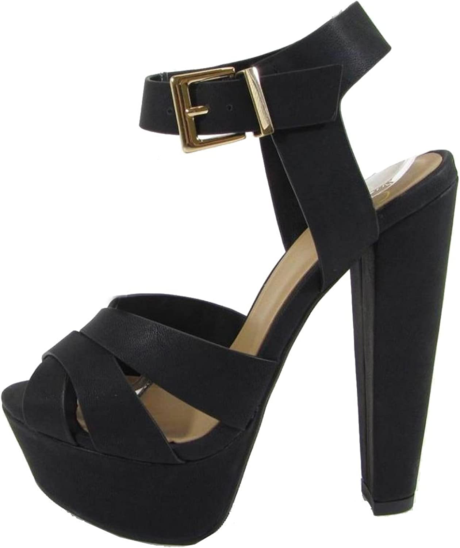 Delicious Women's Crisscross Strappy Platform Chunky Heel Sandal