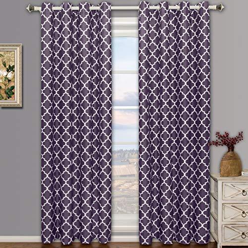 Meridian Purple Grommet Room Darkening Window Curtain Panels, Pair / Set of 2 Panels, 52x84 inches Each, by Royal Hotel