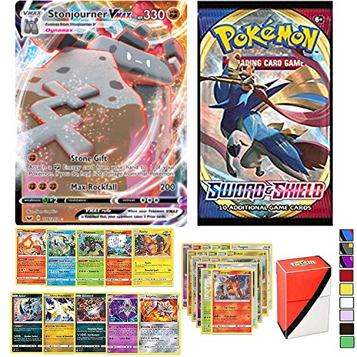 Totem World Pokemon VMAX Card Guaranteed with Booster Pack, 5 Rare, 5 Foil Holo, 20 Regular Pokemon Cards and Totem Deck Box
