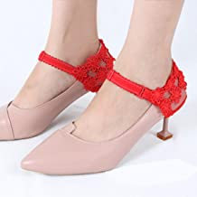 1 paire de talons hauts ensemble lacet tenant des sangles antidérapantes lâches femmes chaussures en dentelle bande chauss...