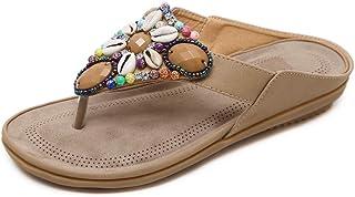Yefree Ladies Flats Sandalias de tacón bajo Chancletas con Cuentas Bohemias de Verano Zapatos Casuales de Playa