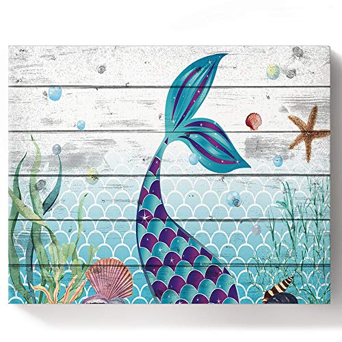DIY Oil Painting by Number Kits for Kid Adult Beginner, Marine Theme Rocking Fishtail Wood Grain Drawing Paintwork with Paintbrushes Acrylic Pigment, 16''x 20''