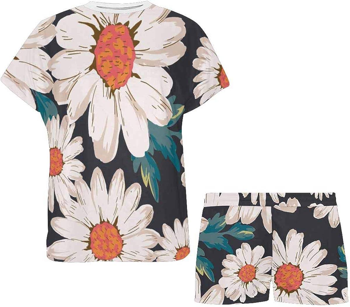 InterestPrint Blossom Flower, Daisy Print Women's Pajama Sets Short Sleeve Shorts - Pajamas for Women