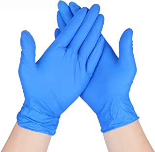EiioX 100 Pcs Nitrile Disposable Gloves, Powder Free, Rubber Latex Free, Medical Exam Gloves, Non Sterile, Comfortable Ind...