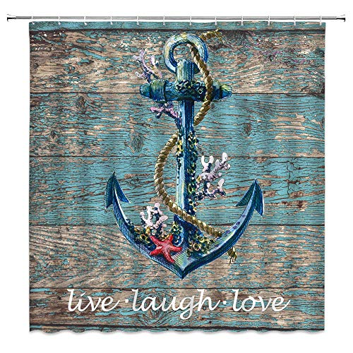 LIVEFUN Nautical Anchor Shower Curtain Hope Anchor with Coral Starfish Live Laugh Love Inspirational Quote Ocean Vintage Rustic Old Wooden Board Country Fabric Bathroom Decor Curtain with Hooks,Blue