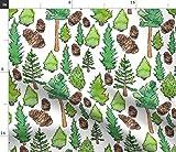 Spoonflower Stoff – Kiefer Leben grün England-Bäume Wald