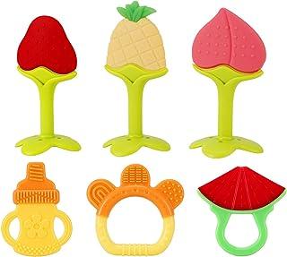 SLotic juguetes para dentición de bebé, paquete de 6 – Silicona natural orgánica para congelador, mordedores seguros para recién nacido, suave y con textura – regalo para baby shower