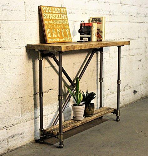 Furniture Pipeline Mesa de salón de 2 Niveles Industrial, de Metal y Madera Envejecida con Acabado Reciclado
