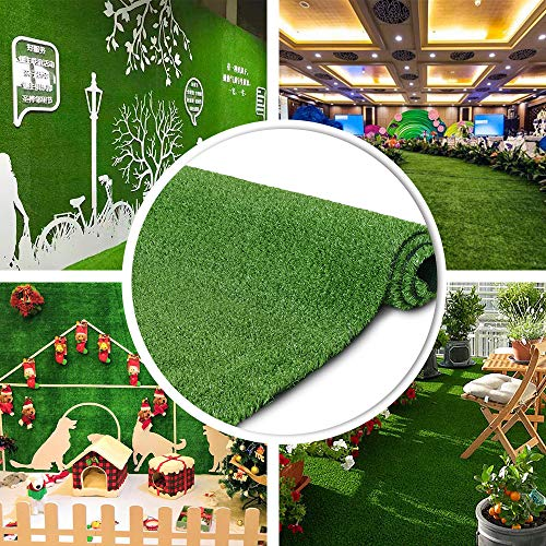 · Petgrow · Artificial Grass Turf Lawn 7FTX12FT,Economy Indoor Outdoor Synthetic Grass Mat, Backyard Patio Garden Balcony Rug, Rubber Backing/Drainage Holes