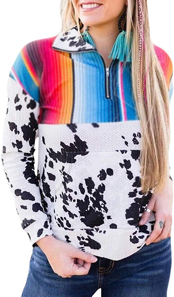 Whear Women Casual Long Sleeve 1//4 Zipper Color Block Sweatshirts Stand Collar Pullover Tunic Tops with Pockets
