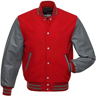 red and blue letterman jacket