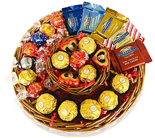 Christmas Gifts Basket - Chocolate Variety Chocolate Tray for Family, Friends, Gourmet Food Gift, Holiday, Office for Men, Women and Corporate