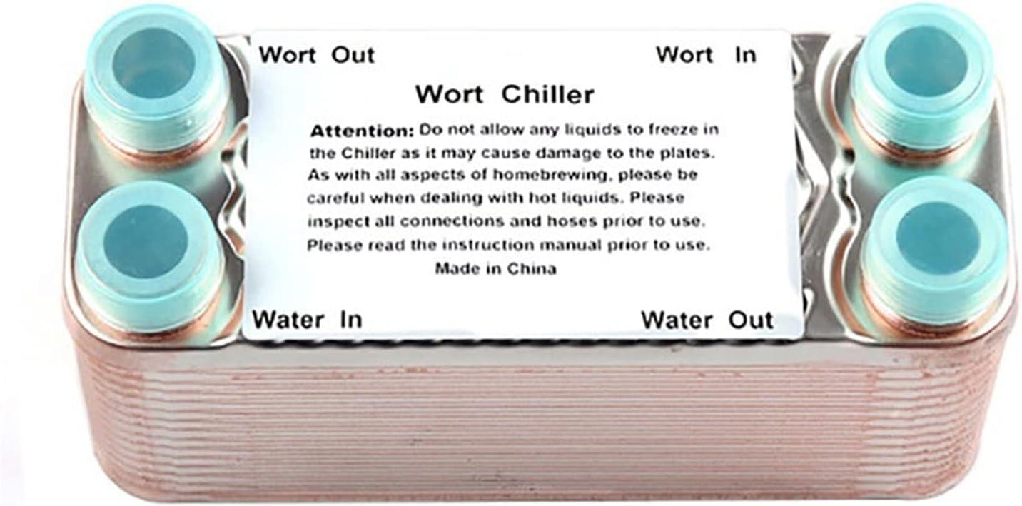 Clacas de acero inoxidable de 30 platos Wort Chiller que elaboran enfriadoras con 3/4 TONTO Hilo de manguera de hilo Threat Intercambiador de calor Wort Chiller Para hacer cerveza casera