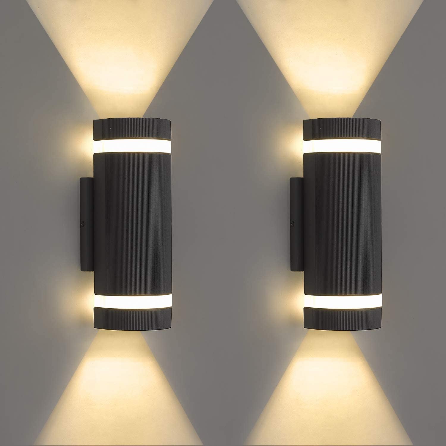 LMS 2 Pack LED Semi Cylinder Up and Down Lights Outdoor Wall Lights 3000k 14W 1120lm, Modern Aluminum Waterproof Outdoor Wall Sconce Wall Mount, Black LMS-WL10
