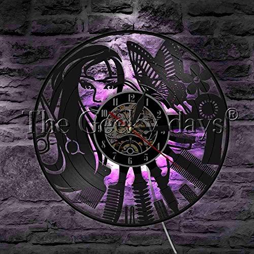 RIII Hermosa Chica y decoración de Mariposa, iluminación, Disco de Vinilo, Reloj de Pared, Cabello, salón de Belleza, Herramientas de peluquería, Herramientas, lámpara Colgante