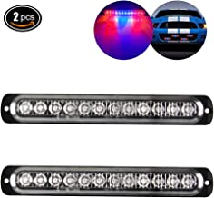 Emergency Strobe Lights Hazard Warning lights 12 LED Red&Blue Surface Mount for Construction Vehicle Car Truck 12-24V Waterproof 12W Recovery Breakdown Beacon Light Bar-2 Pack