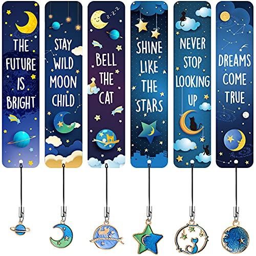 12 Pieces Cat Moon Star Celestial Theme Bookmarks with Metal Charms Celestial Bookmarks Inspirational Quotes Bookmarker for Boys and Girls, School Classroom Present Reading