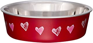 Loving Pets Bella Bowl Designer & Expressions, Dog Bowl, X-Small, Hearts Valentine, Red