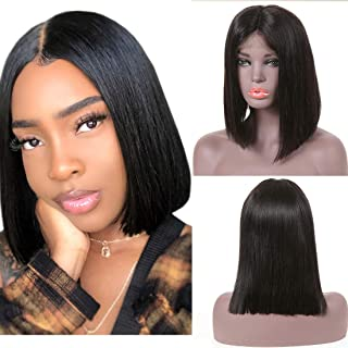 Beauty Forever Human Hair Bob Lace Frontal Wig For Black Women 130% Density Brazilian Virgin Hair Straight Hair Lace Wig with Pre Plucked Hairline Natural Color 100% Human Hair (10 Inch)