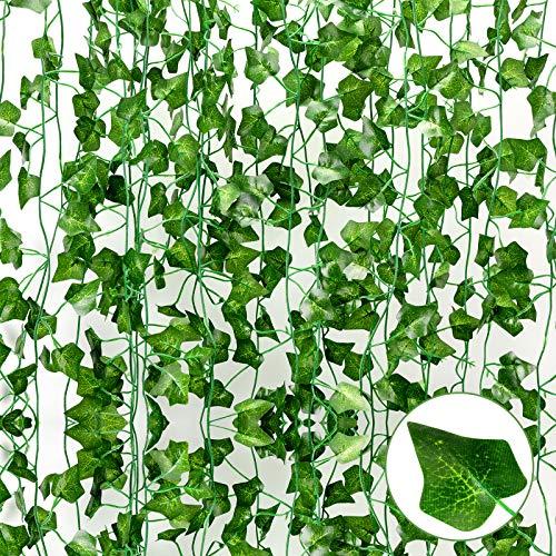 Yumcute 12 Piezas Plantas Hiedra Artificial, Hiedra Hojas de Vid Artificial Enredadera Guirnalda Decorativa, Duradero y Reutilizable, para Decoración de Pared de Boda, Hogar, Cocina, Jardín, Fiesta
