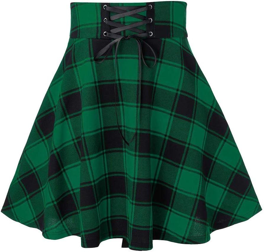 Smoxx Women's Basic High Waist Plaid Print Mini Uniform Skirt,Lace Skirt A-line Skirt Green