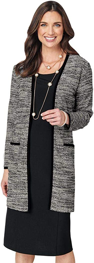 ANTHONY RICHARDS Women's Two Piece Tweed Contrast Longer Jacket and Short Sleeve Dress