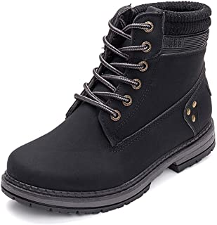 Women's Lace up Ankle Boots Work Waterproof Low Heel...