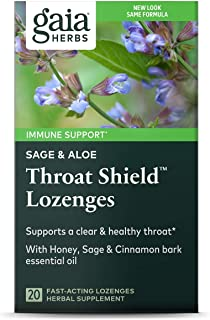 Gaia Herbs Sage & Aloe Throat Shield Lozenges, 20 Count (Pack of 2) - Soothing, Hydrating Support for Throat Health and In...