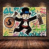 AOXULIU Cuadro sobre Lienzo 40x60cm Sin Marco Alec Monopoly Richie Scrooge Dollars Poster Home Design Baño Wall Art...