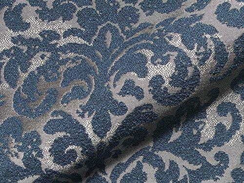 Möbelstoff MADAME 660 Muster Ornamente Farbe blau als robuster Bezugsstoff, Polsterstoff blau gemustert zum Nähen und Beziehen, Polyester
