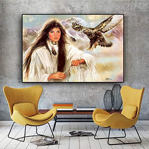tzxdbh Native Indian Girl Fwith Eagles Ölgemälde auf Leinwand Poster und Drucke skandinavischen Wandkunst Bild für Wohnzimmer