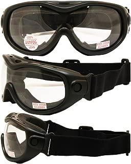 All-Star Motorcycle ATV MX Tactical Over-Prescription-Glasses Goggles Gloss Black Frames Clear Lenses ANSI Z87.1+