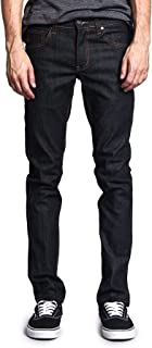 Victorious Mens Skinny Slim Fit Stretch Raw Denim Jeans