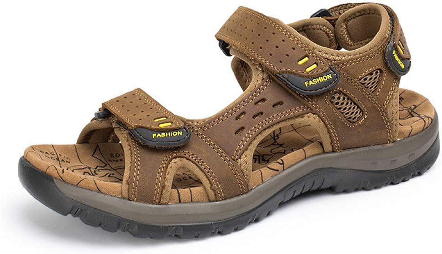 STTXTM Beach Slippers Summer Leisure Beach Men shoes Leather Sandals The Big Yards Men's Sandals Size 38-45 Light Brown