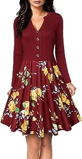 Diphi LiLi Women's V Neck Dresses Long Sleeve Botton Down Shirt Floral Dress