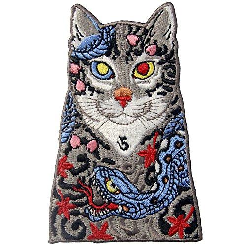 Aufnäher, bestickt, Design: Katzen mit Schlange und Blättern Tattoo, zum Aufbügeln oder Aufnähen
