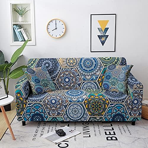 ASCV Stretch Schonbezug Mandala Patterns Schnittsofa elastische Sofabezug für Wohnzimmer Schnitt Couchbezug A8 2-Sitzer
