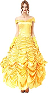 Belle Costume for Women Adult Belle Dress Yellow Belle Cosplay Halloween