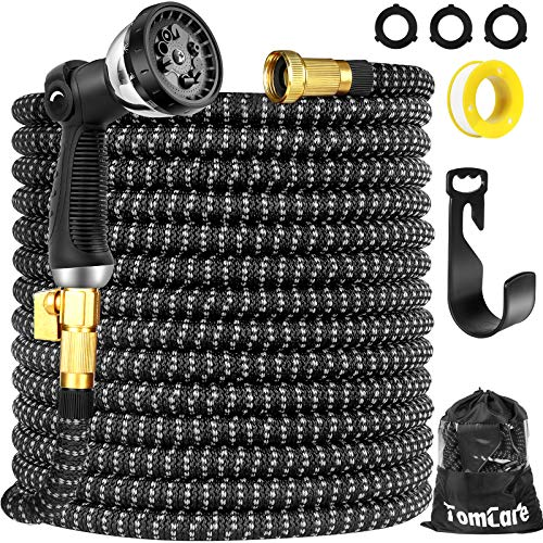 """TomCare Garden Hose 100ft Expandable Garden Hose Flexible Garden Hose Water Hose with 10 Function Spray Nozzle 3/4"""" Solid Brass Fittings Extra Strength 3750D Expanding Hose for Shower Watering Washing"""